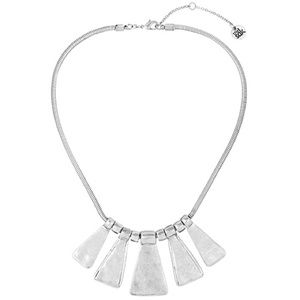 Worn Silver Plated Paddle Collar Bib Necklace